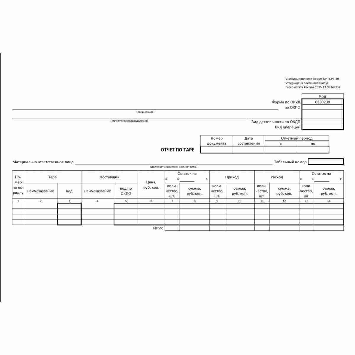 """Унифицированная форма первичной учетной документации №ТОРГ-30 """"Отчет по таре"""" (ОКУД 0330230). Лицевая сторона."""