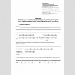 """Форма """"Заявление о регистрации в качестве страхователя для неработающих граждан в территориальном фонде обязательного медицинского страхования"""""""