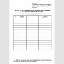 """Форма """"Журнал учета принятых ходатайств о выдаче приглашений на въезд в Российскую Федерацию"""""""
