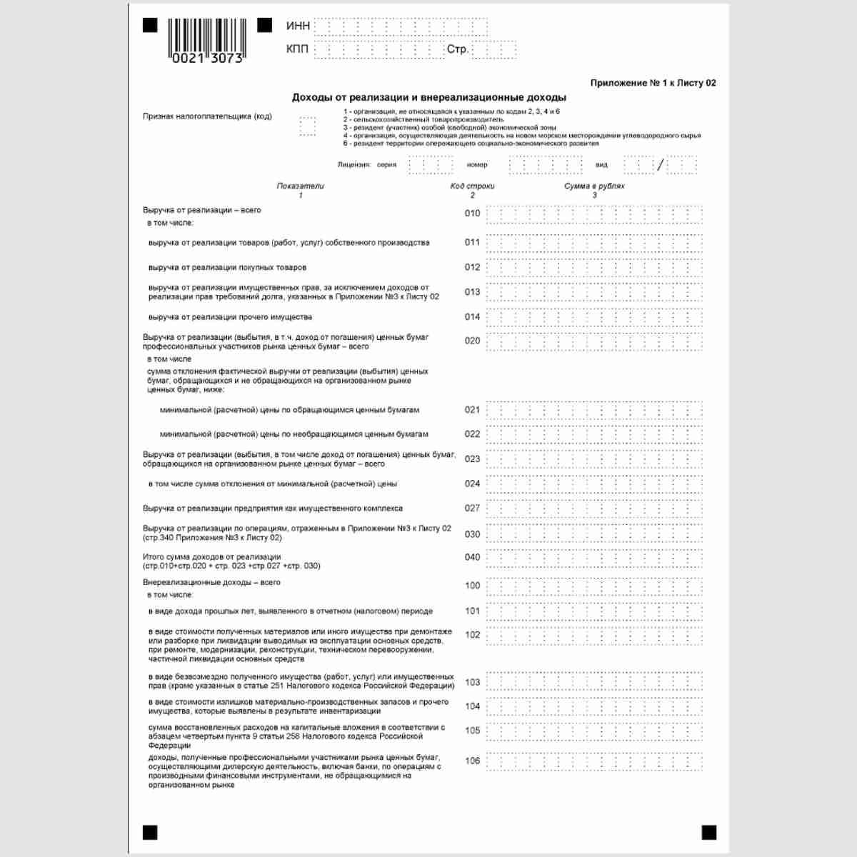 """Форма КНД 1151006 """"Налоговая декларация по налогу на прибыль организаций"""". Лист 02. Приложение№1"""