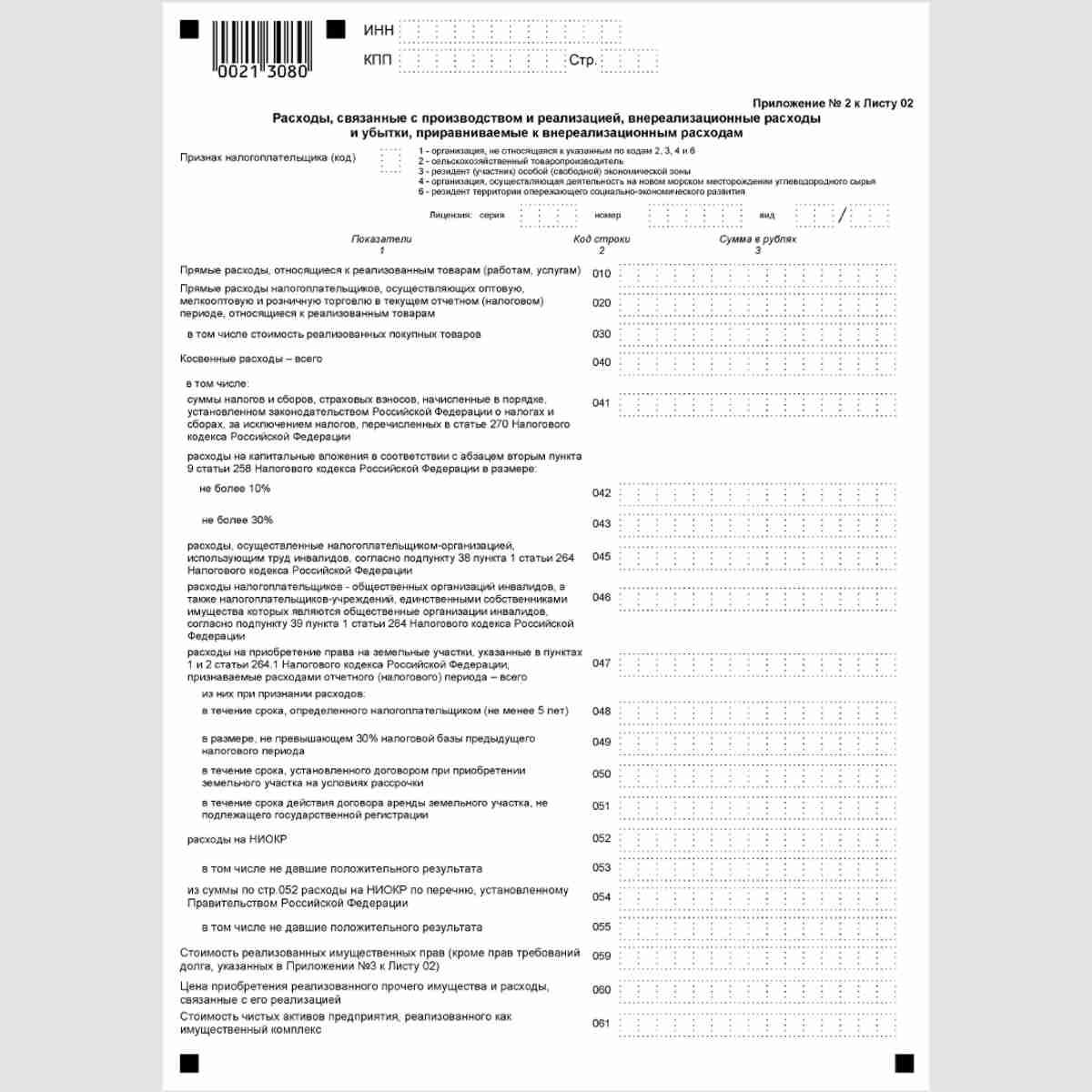 """Форма КНД 1151006 """"Налоговая декларация по налогу на прибыль организаций"""". Лист 02. Приложение№2"""