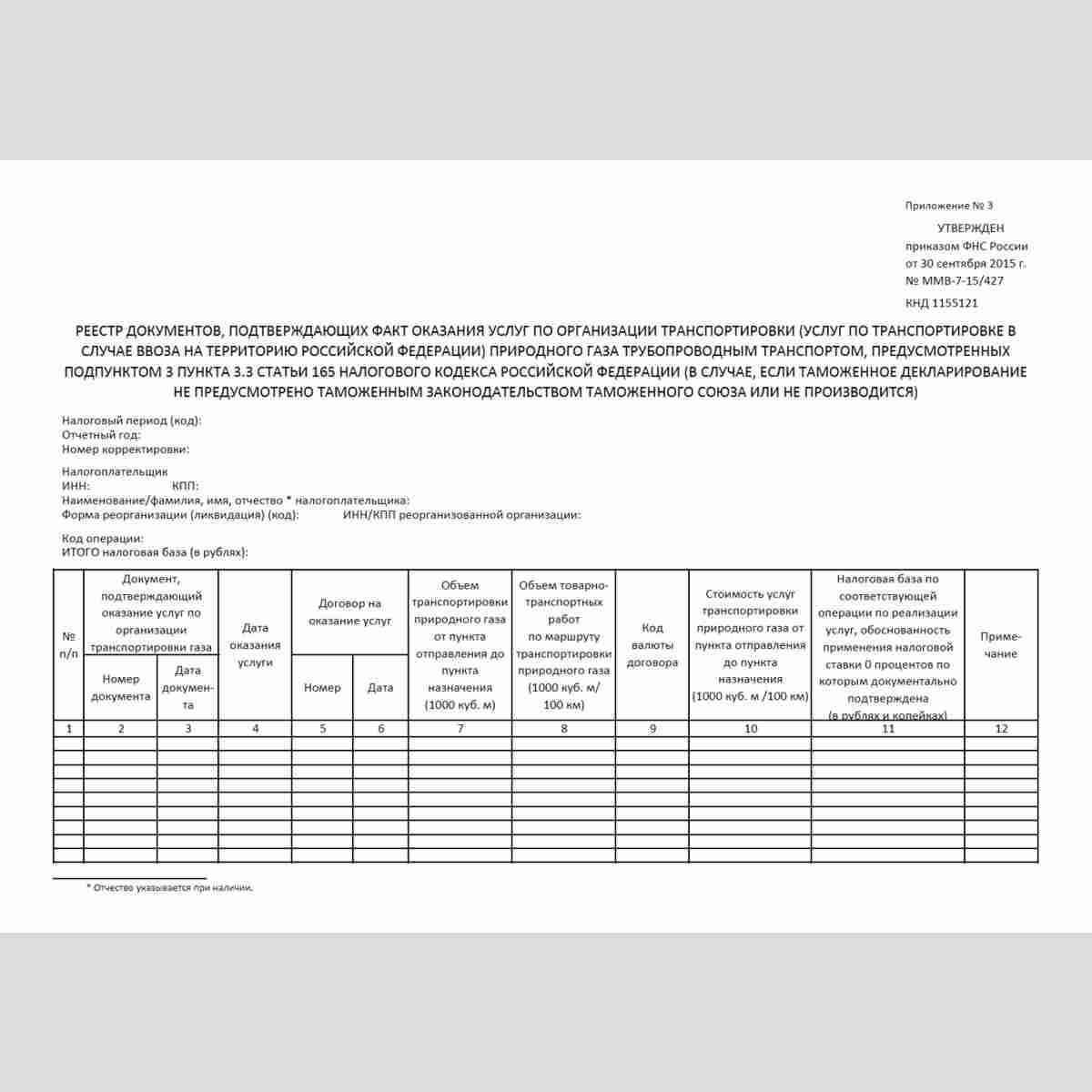 """Форма КНД 1155121 """"Реестр документов, подтверждающих факт оказания услуг по организации транспортировки (услуг по транспортировке в случае ввоза на территорию Российской Федерации) природного газа трубопроводным транспортом, предусмотренных подпунктом 3 п"""