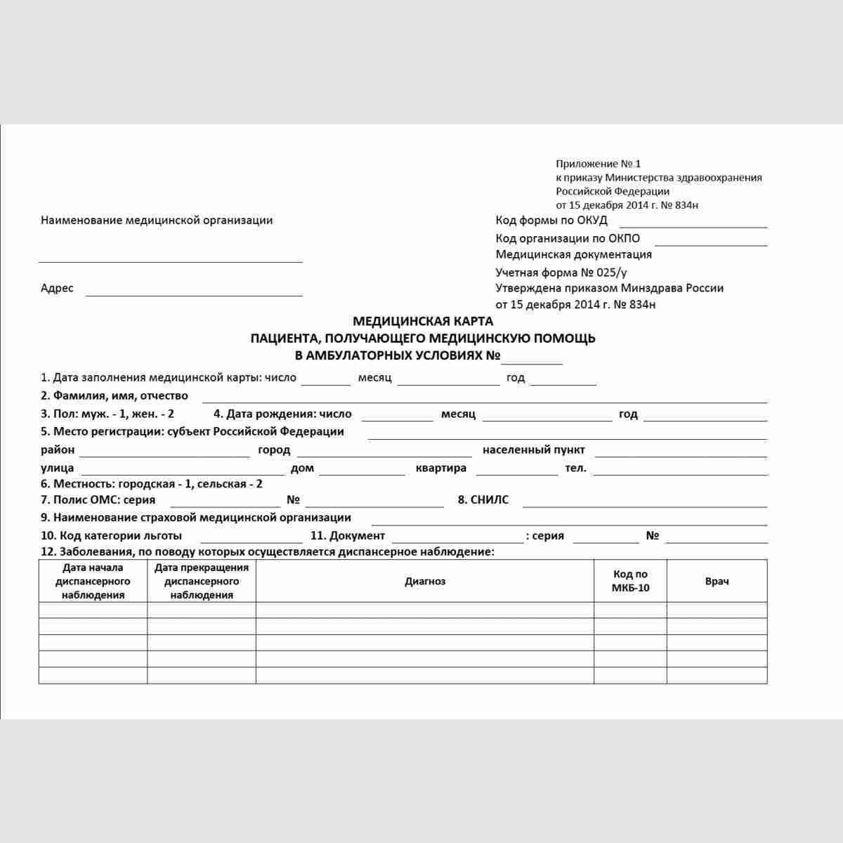 """Учетная форма №025/у """"Медицинская карта пациента, получающего медицинскую помощь в амбулаторных условиях"""". Титульный лист."""