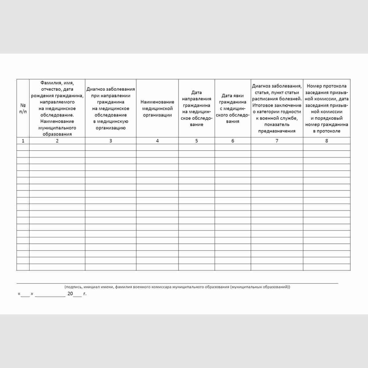 """Форма """"Книга учета граждан, направленных на медицинское обследование"""". Лист книги"""