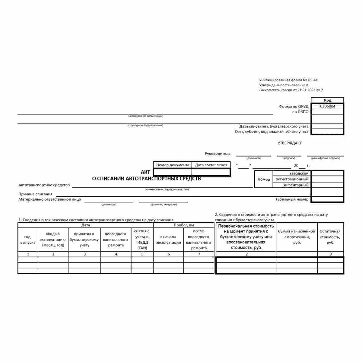 """Унифицированная форма первичной учетной документации № ОС-4а """"Акт о списании автотранспортных средств"""" (ОКУД 0306004). Стр 1"""