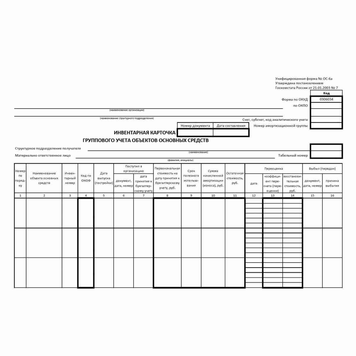 """Унифицированная форма первичной учетной документации № ОС-6а """"Инвентарная карточка группового учета объектов основных средств"""" (ОКУД 0306034). Лицевая сторона"""
