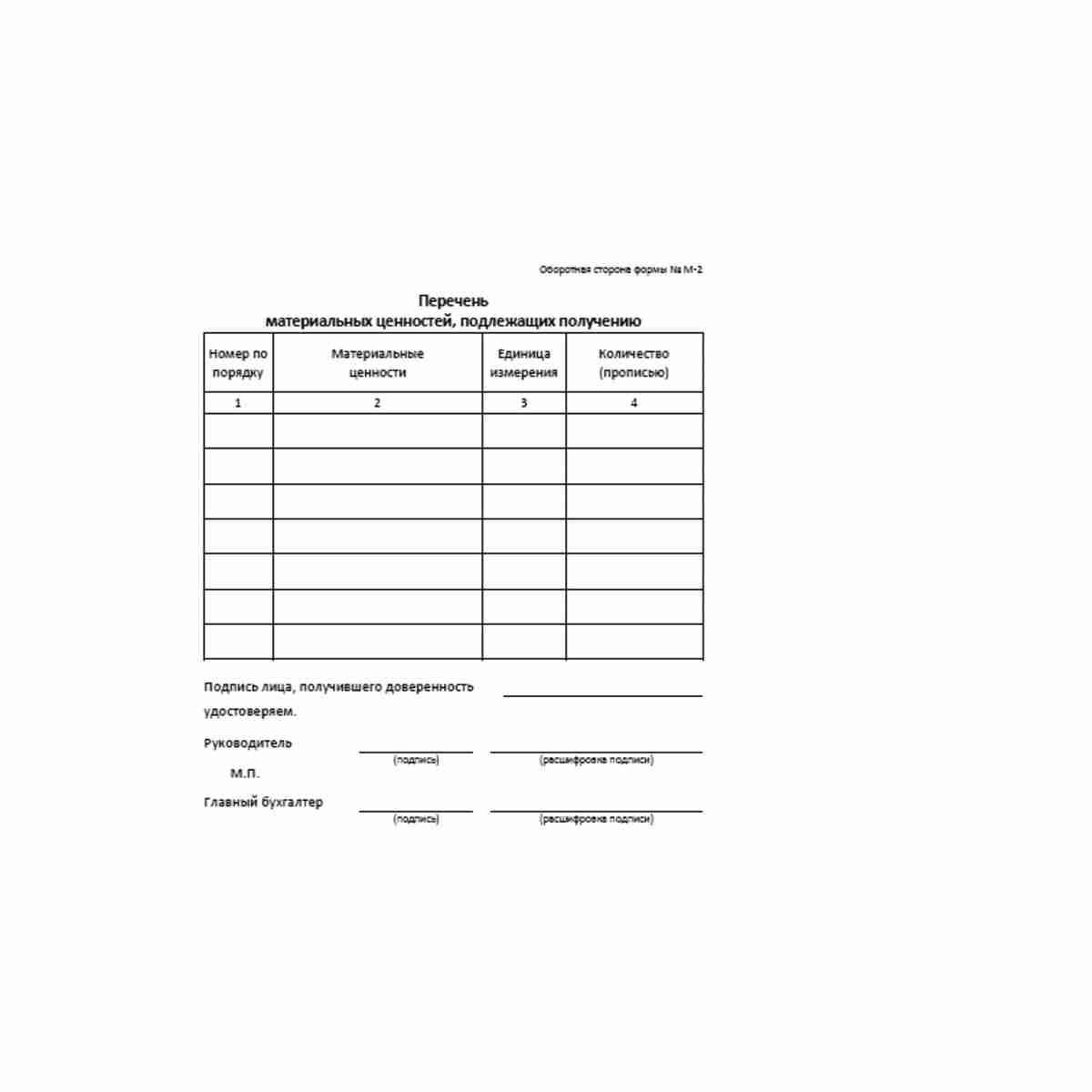 """Унифицированная форма первичной учетной документации Типовая межотраслевая форма № М-2 """"Доверенность"""" (ОКУД 0315001). Оборотная сторона."""