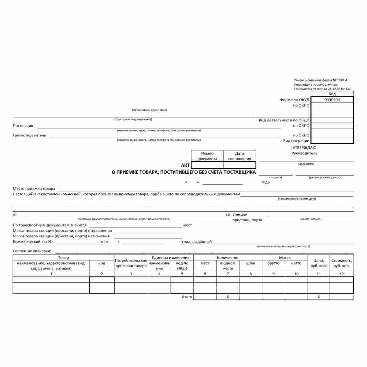 """Унифицированная форма первичной учетной документации №ТОРГ-4 """"Акт о приемке товара, поступившего без счета поставщика"""" (ОКУД 0330204). Лицевая сторона."""
