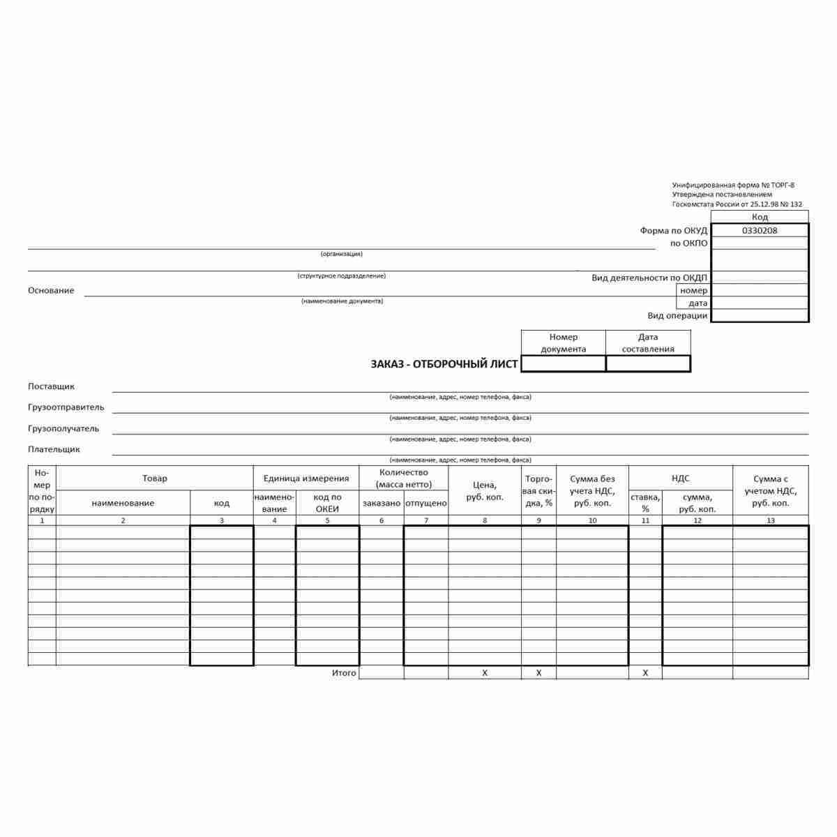"""Унифицированная форма первичной учетной документации №ТОРГ-8 """"Заказ - отборочный лист"""" (ОКУД 0330208). Лицевая сторона."""