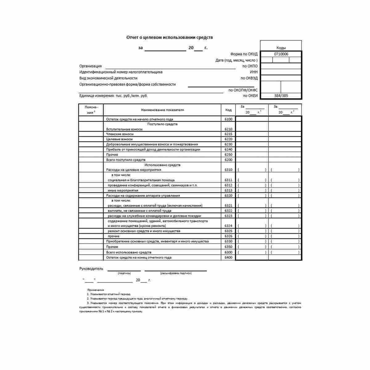 """Форма """"Отчет о целевом использовании средств"""" (ОКУД 0710006)"""