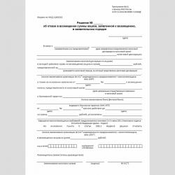 """Форма КНД 1160251 """"Решение об отказе в возмещении суммы акциза, заявленной к возмещению, в заявительном порядке"""""""