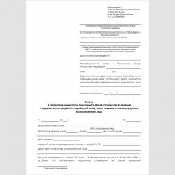 """Форма """"Запрос в территориальный орган Пенсионного фонда Российской Федерации о представлении сведений о заработной плате, иных выплатах и вознаграждениях застрахованного лица"""""""